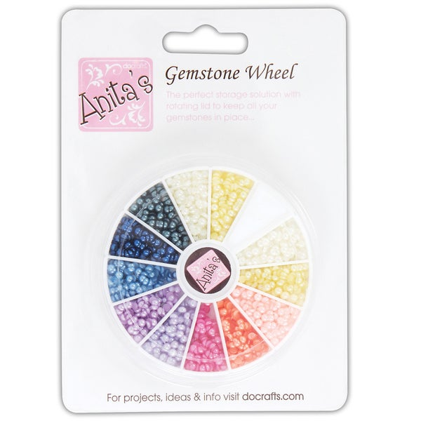 Anita's Gemstone Wheel W/Glue-On Pearls-12 Assorted Colors
