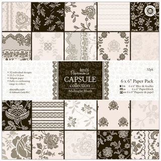 "Papermania Paper Pack 6""X6"" 32/Pkg-Midnight Blush"