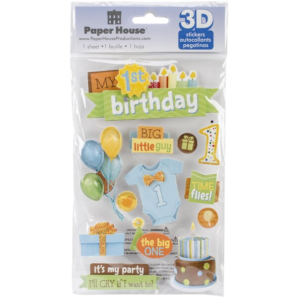 Paper House 3D Stickers-1st Birthday-Boy