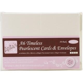 Anita's Pearlescent Cards/Envelopes A6 50/Pkg-Timeless Ivory & Ecru