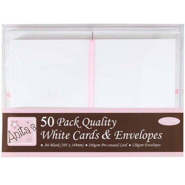Anita's Cards/Envelopes A6 50/Pkg-White