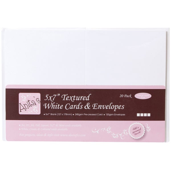 "Anita's Textured Cards/Envelopes 5""X7"" 20/Pkg-White"