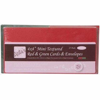 "Anita's Square Textured Cards/Envelopes 4""X4"" 25/Pkg-Red & Green"