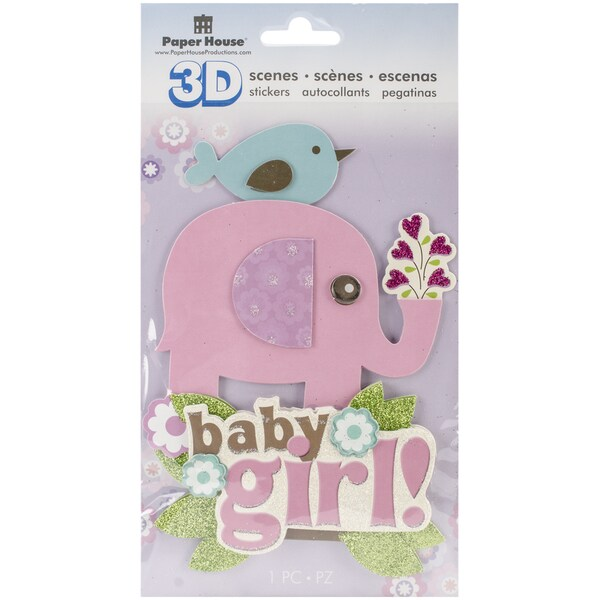 Paper House 3D Stickers-Baby Girl Scene