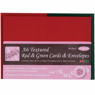 Anita's Textured Cards/Envelopes A6 50/Pkg-Red & Green