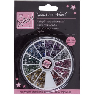 Anita's Gemstone Wheel W/3mm Glue-On Gems-12 Assorted Colors