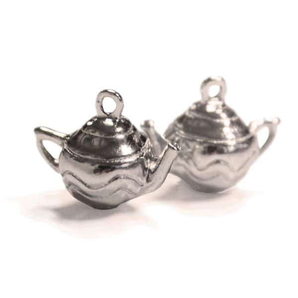 Silver Embellishments 15/Pkg-Teapots