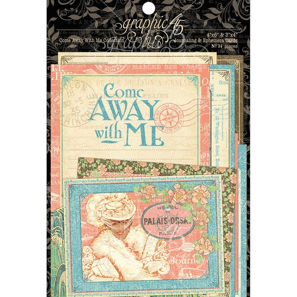 "Come Away With Me Journaling & Ephemera Cards-4""X6"" & 3""X4"""