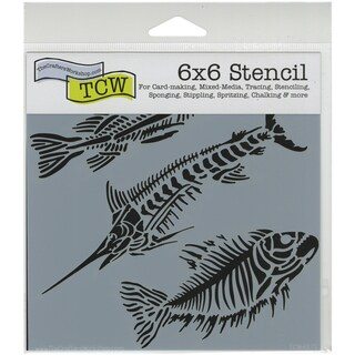 "Crafter's Workshop Template 6""X6""-Fish Fossils"