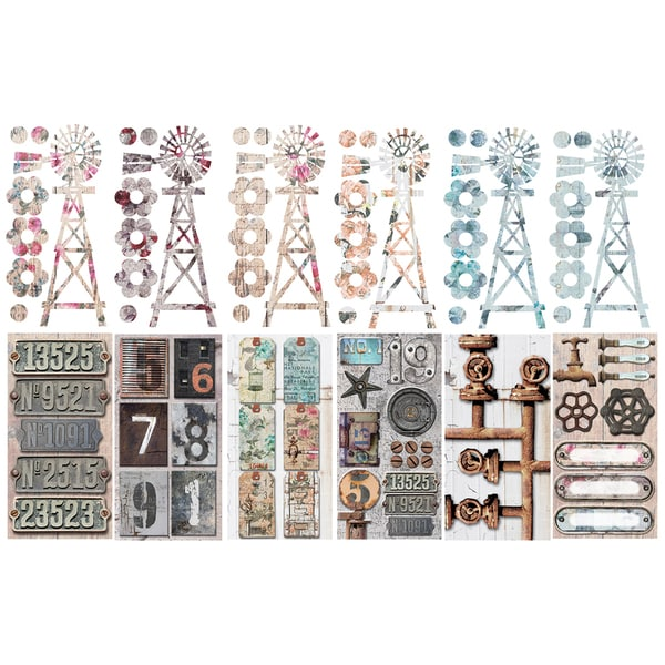 Industrial Chic Journal Pack 12 Pages-Windmills, Licence Plates, Tags, Shapes