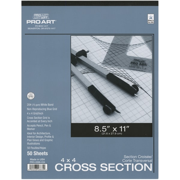 "Pro Art Cross Section Pad 8.5""X11""-4x4 Grid 50/Sheets"