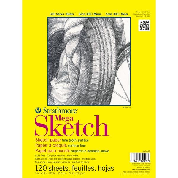 "Strathmore Mega Sketch Paper Pad 9""X12""-50lb 120 Sheets"