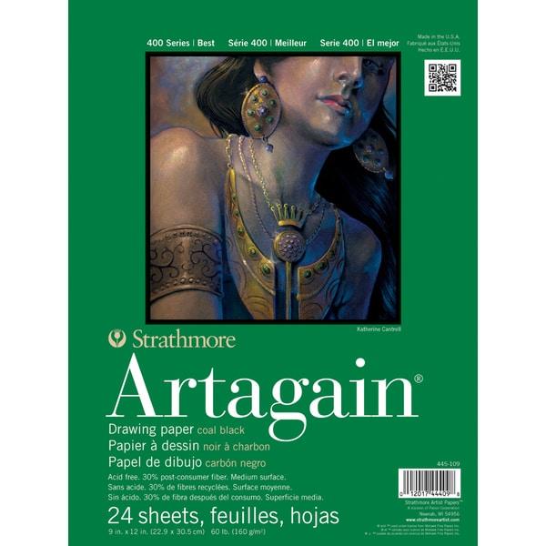 "Strathmore Black Artagain Paper Pad 9""X12""-60lb 24 Sheets"