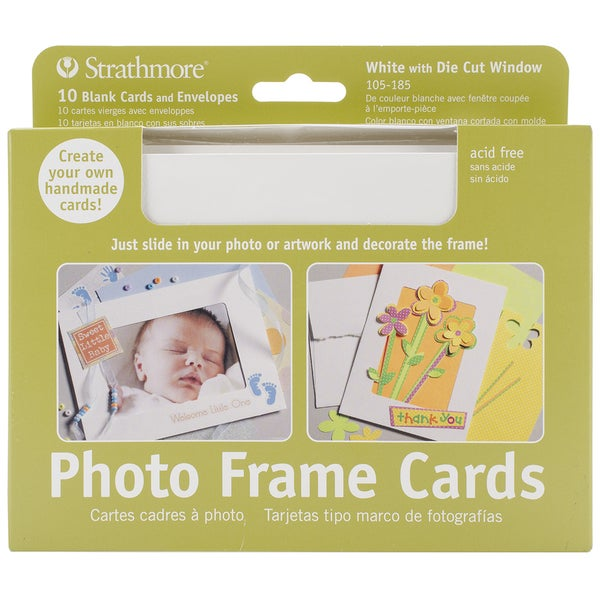 "Strathmore Cards & Envelopes 5""X7"" 10/Pkg-White Photo Frame"