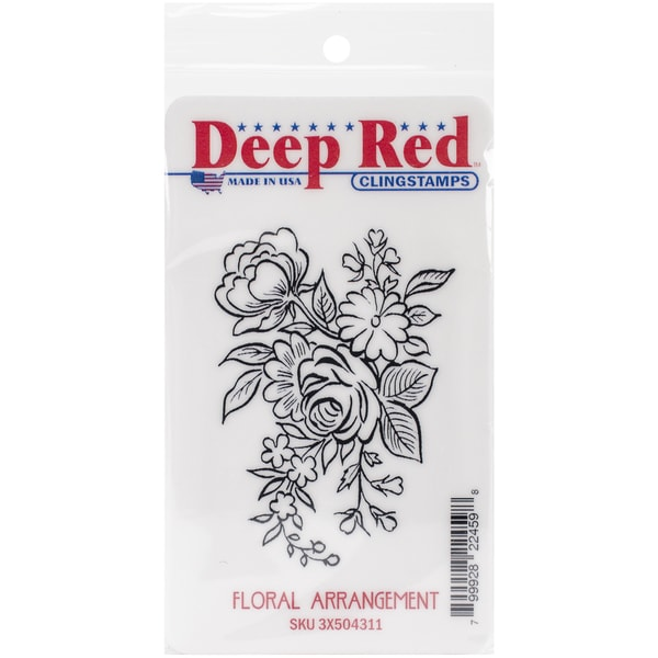 "Deep Red Cling Stamp 2""X3""-Floral Arrangement"