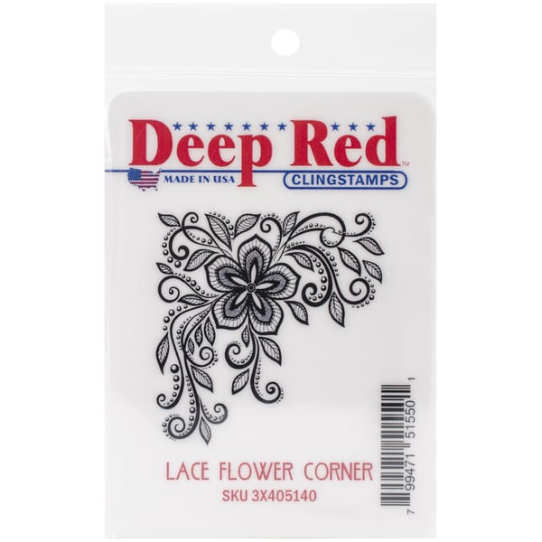 "Deep Red Cling Stamp 2""X2""-Lace Flower Corner"