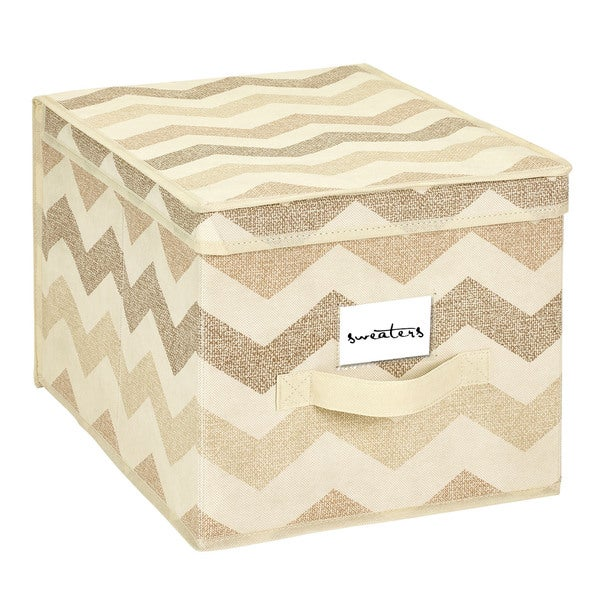 The Macbeth Collection Large Textured Chevron Printed Storage Box