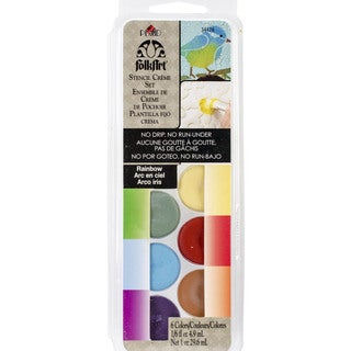 FolkArt Stencil Cream Paint Set 6/Pkg-Rainbow