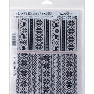 "Tim Holtz Cling Rubber Stamp Set 7""X8.5""-Holiday Knits"