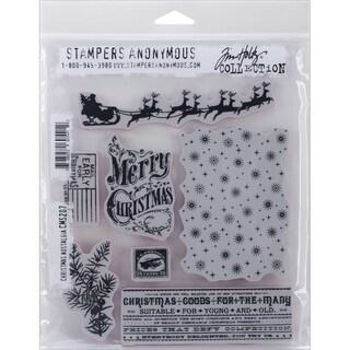 "Tim Holtz Cling Rubber Stamp Set 7""X8.5""-Christmas Nostalgia"