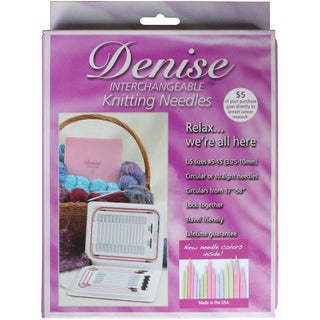 Denise Interchangeable Knitting Needles Kit-Pink Case W/Pastel Colored Needles