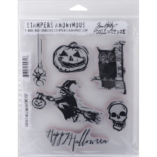 "Tim Holtz Cling Rubber Stamp Set 7""X8.5""-Carved Halloween"