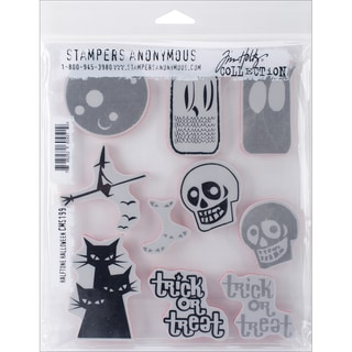"Tim Holtz Cling Rubber Stamp Set 7""X8.5""-Halftone Halloween"