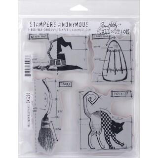 """Tim Holtz Cling Rubber Stamp Set 7""""X8.5""""-Halloween Blueprint #3"""
