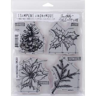 "Tim Holtz Cling Rubber Stamp Set 7""X8.5""-Christmas Blueprint #4"