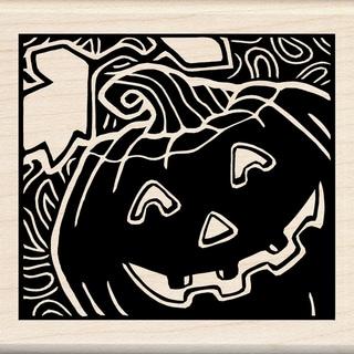 """Inkadinkado Halloween Mounted Rubber Stamp 3""""X3""""-Woodcut Jack O'Lantern"""