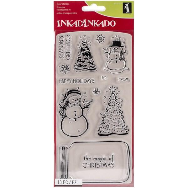 "Inkadinkado Christmas Clear Stamps 4""X8"" Sheet-Mason Jar Snowglobe"