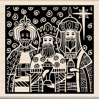 "Inkadinkado Christmas Mounted Rubber Stamp 3""X3""-Three Kings"