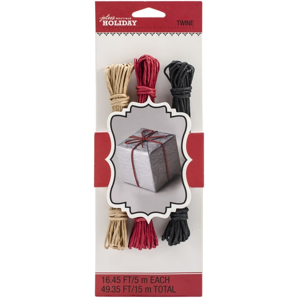 Jolee's Christmas Paper Twine 16.45' 3/Pkg-Red, Black & Kraft
