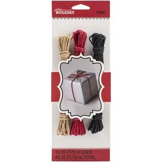 Jolee's Christmas Paper Twine 16.45' 3/Pkg-Red, Black & Kraft