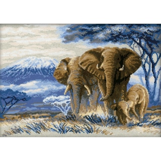 """Elephants In The Savannah Counted Cross Stitch Kit-15.75""""X11.75"""" 14 Count"""