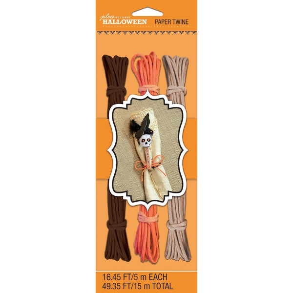 Halloween Paper Twine 16.45' 3/Pkg-Brown, Orange & Tan