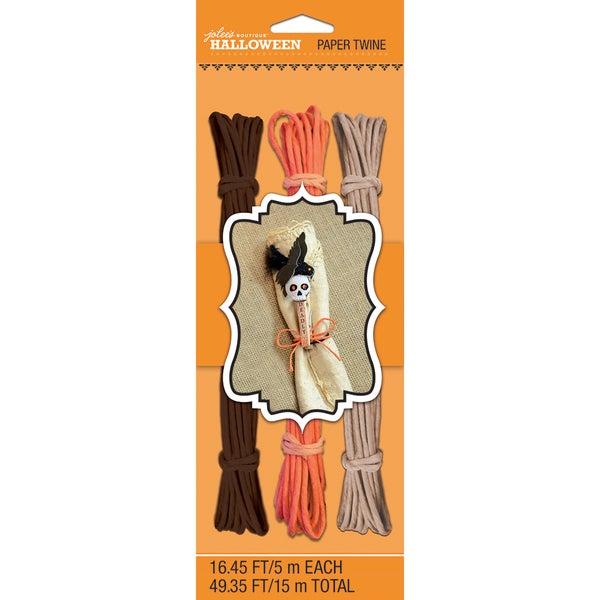 Halloween Paper Twine 16.45' 3/Pkg-Brown, Orange & Tan