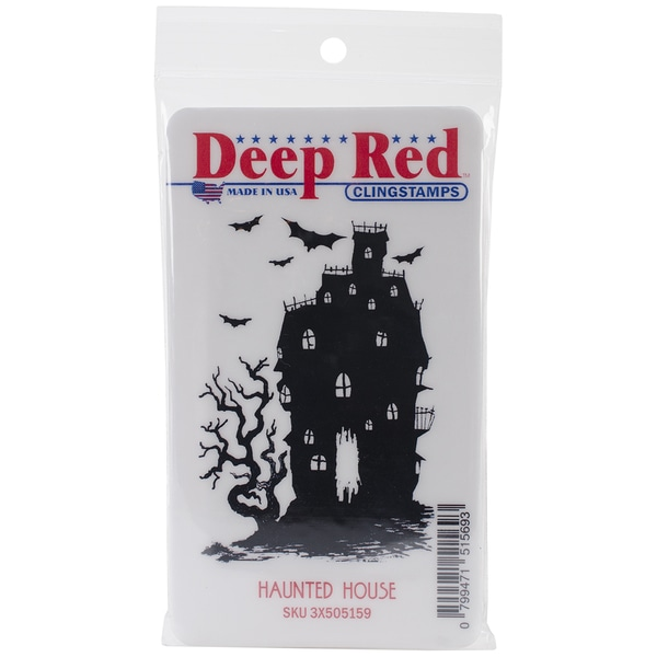 "Deep Red Cling Stamp 2""X3""-Haunted House"