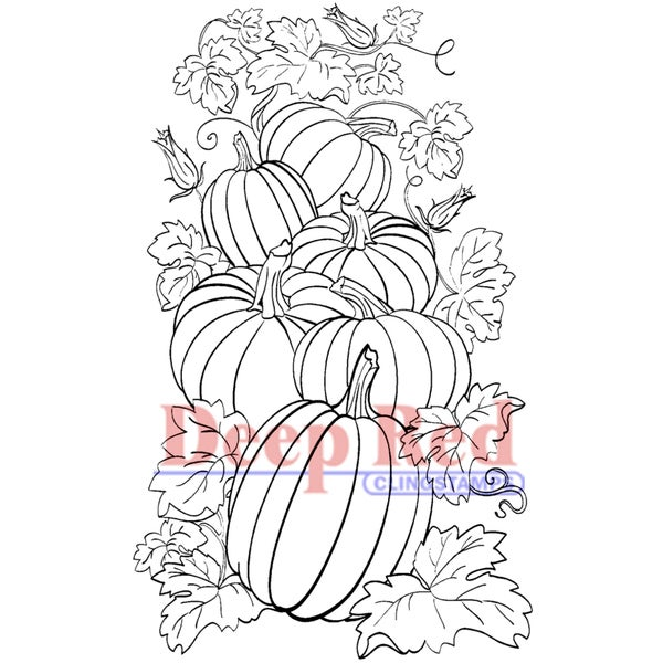 "Deep Red Cling Stamp 2""X3""-Pumpkin Patch"