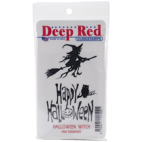 "Deep Red Cling Stamp 2""X3""-Halloween Witch"