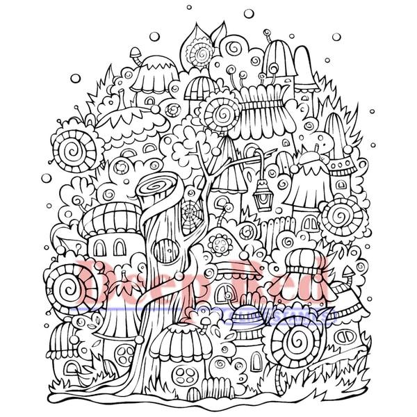 "Deep Red Cling Stamp 3""X4""-Elf Village"