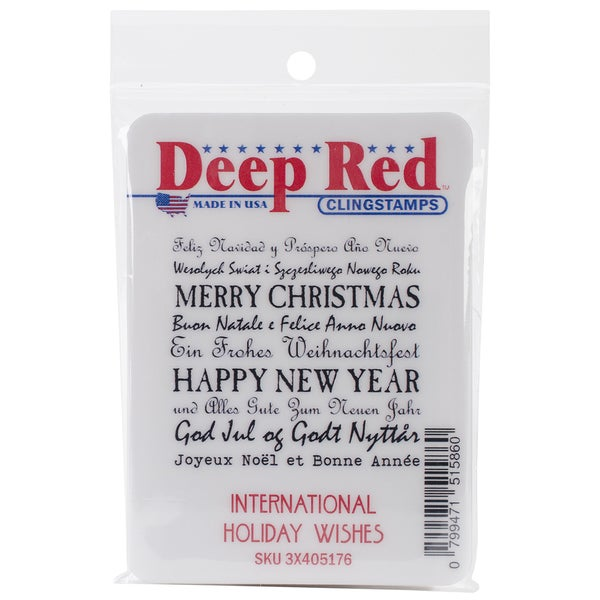 "Deep Red Cling Stamp 2""X2""-International Holiday Wishes"