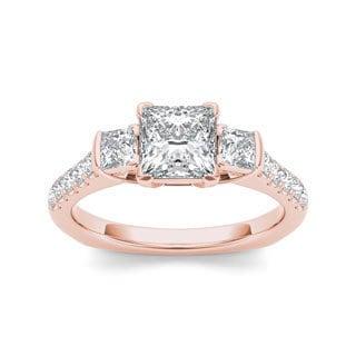 De Couer 14k Rose Gold 1 1/2ct TDW Diamond Three-stone Princess-cut Engagement Ring (H-I, I2) with Bonus Necklace