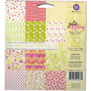 "Julie Nutting Double-Sided Paper Pad 6""X6"" 30/Sheets-Blush"