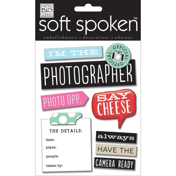 Soft Spoken Themed Embellishments-I'm The Photographer