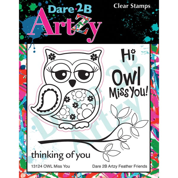 "Dare 2B Artzy Clear Stamps 4""X4"" Sheet-Owl Miss You"