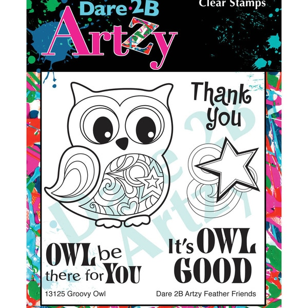 "Dare 2B Artzy Clear Stamps 4""X4"" Sheet-Groovy Owl"