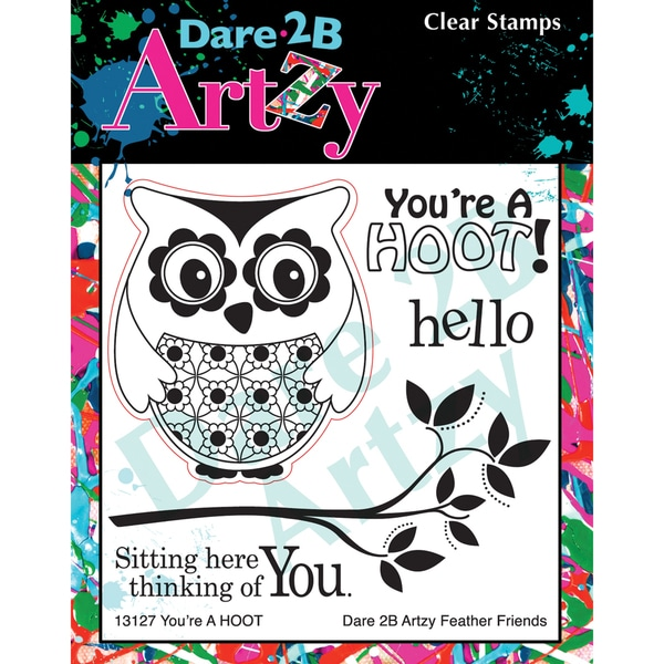 "Dare 2B Artzy Clear Stamps 4""X4"" Sheet-You're A Hoot"
