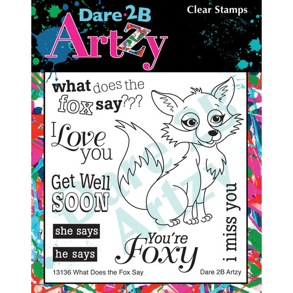 "Dare 2B Artzy Clear Stamps 4""X4"" Sheet-What Does The Fox Say?"