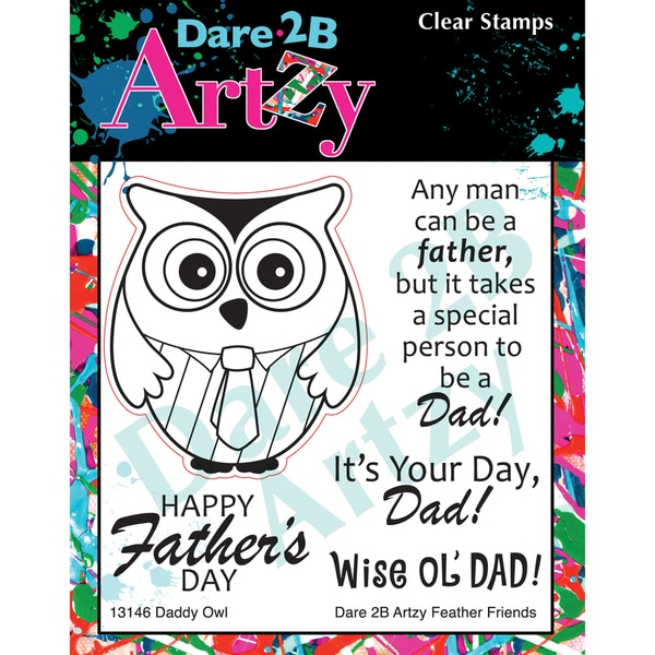 "Dare 2B Artzy Clear Stamps 4""X4"" Sheet-Daddy Owl"
